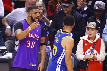 Drake & Steph Curry Have A Shooting Contest At Drake's Mansion