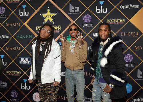 Takeoff, Quavo and Offset of the hip-hop trio Migos attend the 2018 Maxim Party co-sponsored by blu February 3, 2018 in Minneapolis, Minnesota