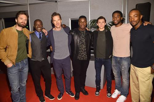 Actors Sebastian Stan, Don Cheadle and Benedict Cumberbatch of AVENGERS: INFINITY WAR, John Boyega of STAR WARS: THE LAST JEDI, and Tom Holland, Chadwick Boseman and Anthony Mackie of AVENGERS: INFINITY WAR took part today in the Walt Disney Studios live action presentation at Disney's D23 EXPO 2017 in Anaheim, Calif.