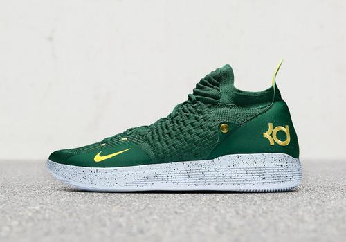 3142de11a56d Kevin Durant Debuts Sonics-Inspired KD11 Ahead Of Seattle Preseason Game