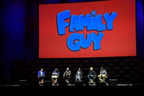 Andy Swift, Alec Sulkin, John Viener, Kara Vallow, Richard Appel, Mike Henry and John Viener speak onstage at the Family Guy panel during 2018 New York Comic Con at on October 6, 2018 in New York City.