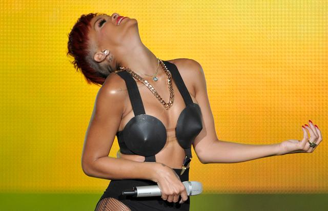 Singer Rihanna performs on stage during Rock in Rio Madrid Festival on June 5, 2010 in Arganda del Rey, Spain.