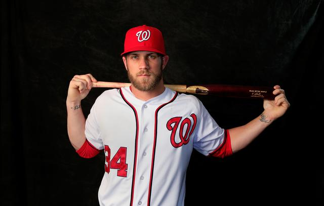 Bryce Harper #34 of the Washington Nationals poses for a portrait during photo day at Space Coast Stadium on February 23, 2014 in Viera, Florida. (Photo by Rob Carr/Getty Images