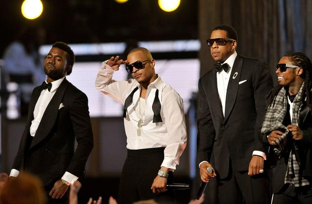 Kanye West, T.I., Jay Z and Lil Wayne performing together in 2009