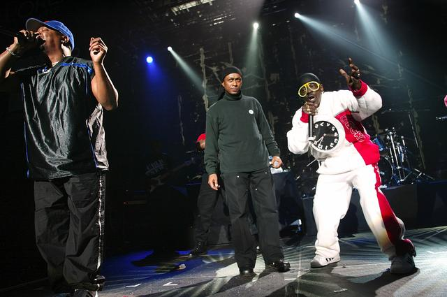 (l to r) Chuck D, Professor Griff, and Flavor Flav of Public Enemy perform during the 2003 Rock the Vote Awards at the Roseland Ballroom February 22, 2003 in New York City.