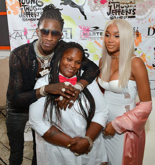 Young Thug, his mom and his girlfriend Jerrika Karlae