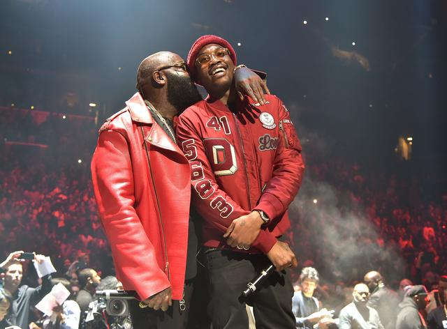 Rick Ross almost kissing Meek Mill