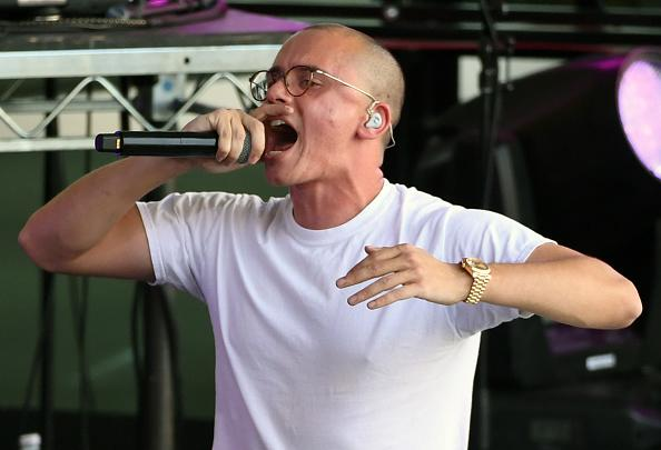 Recording artist Logic performs to celebrate the NHL Stanley Cup playoffs opening night ahead of Game One of the Western Conference First Round between the Los Angeles Kings and the Vegas Golden Knights at T-Mobile Arena on April 11, 2018 in Las Vegas, Nevada.