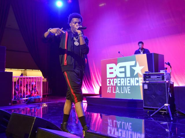 Lil Baby performing at BET event