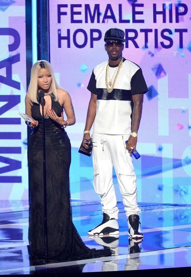 Nicki Minaj and Safaree on stage at BET Awards