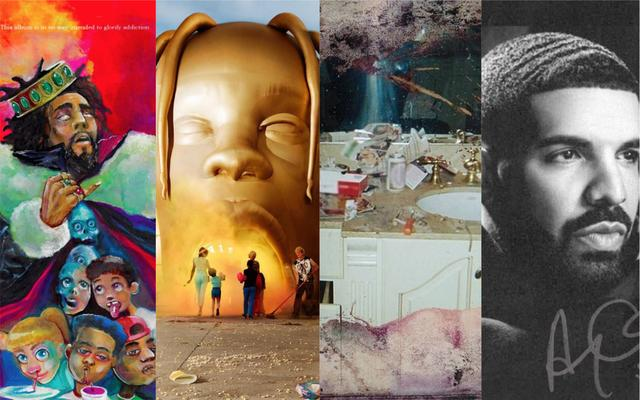 "J. Cole ""K.O.D.,"" Travis Scott ""Astroworld,"" Pusha T ""Daytona,"" Drake ""Scorpion"" artwork"