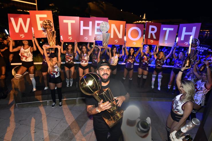 Drake celebrating Raptors win
