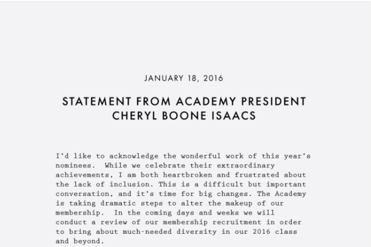 Statement from Academy president Cheryl Boone Isaacs.