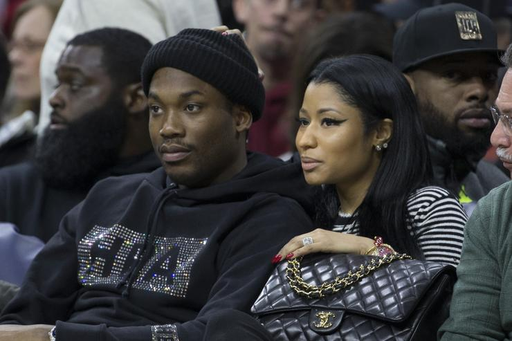 Meek Mill and Nicki Minaj at Golden State Warriors v Philadelphia 76ers