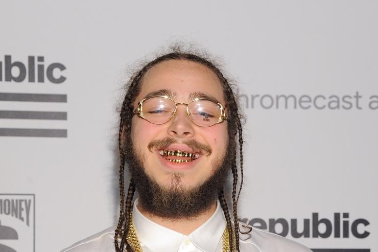 Post Malone at Republic Records Grammy celebration party.