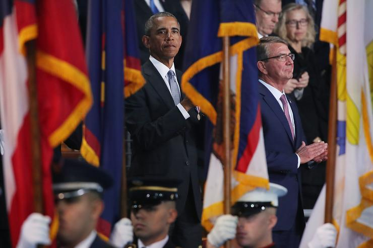 Barack Obama at farewell ceremony.