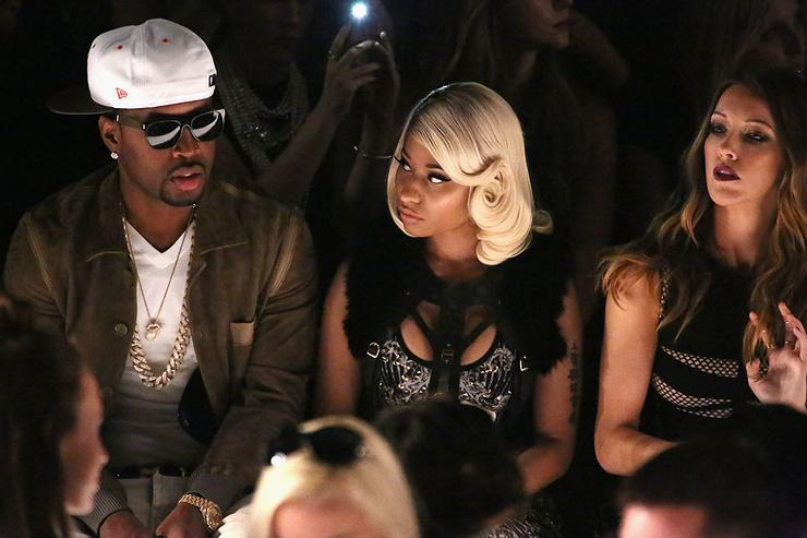 Safaree Samuels, Nicki Minaj, and Katie Cassidy attend the Herve Leger By Max Azria fashion show during Mercedes-Benz Fashion Week Spring 2014 at The Theatre at Lincoln Center on September 7, 2013 in New York City.