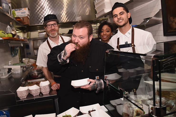Action Bronson samples the dishes provided at the Best of Brooklyn presented by MUNCHIES hosted by Action Bronson at Berg'n on October 14, 2016 in New York City.