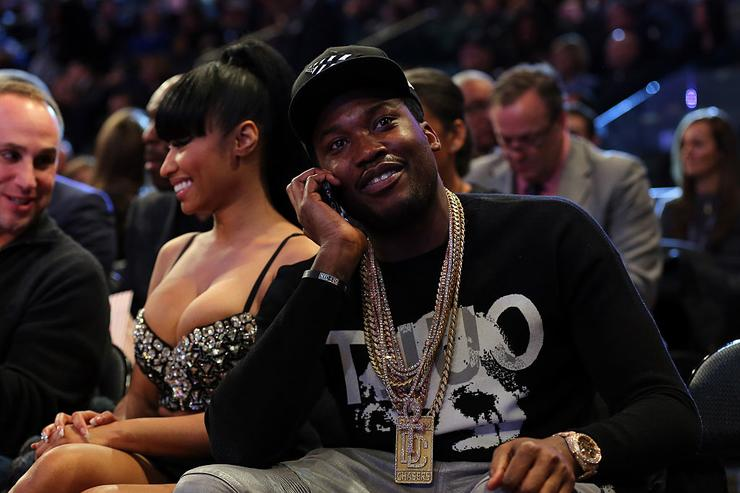 Nicki Minaj and Meek Mill sitting court side during the 2015 NBA All-Star Game at Madison Square Garden on February 15, 2015 in New York City.