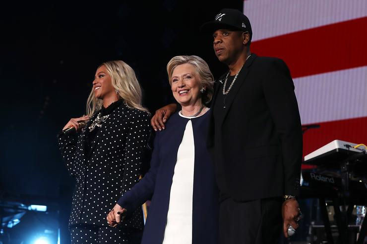 Beyoncé and Jay Z performing at Hillary Clinton's campaign rally.