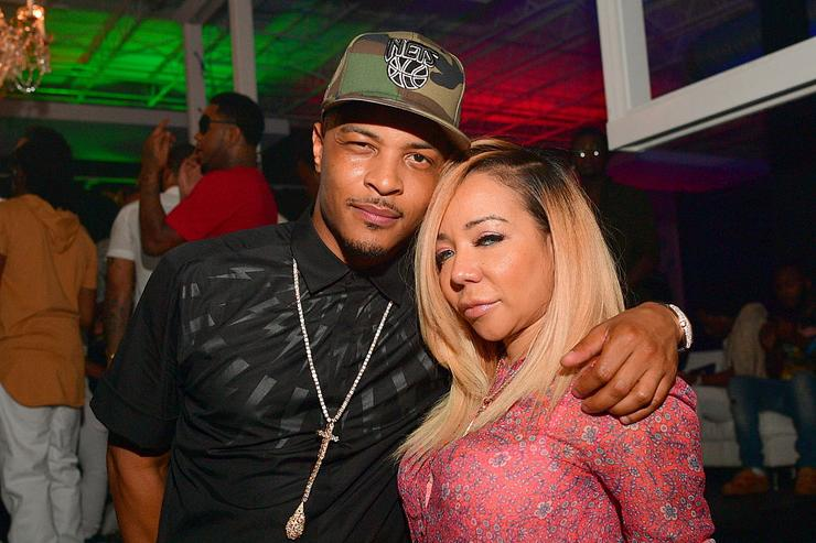 T.I. and Tameka 'Tiny' Harris attend young thugs 25th birthday and PUM Campaign on August 15, 2016 in Atlanta, Georgia.