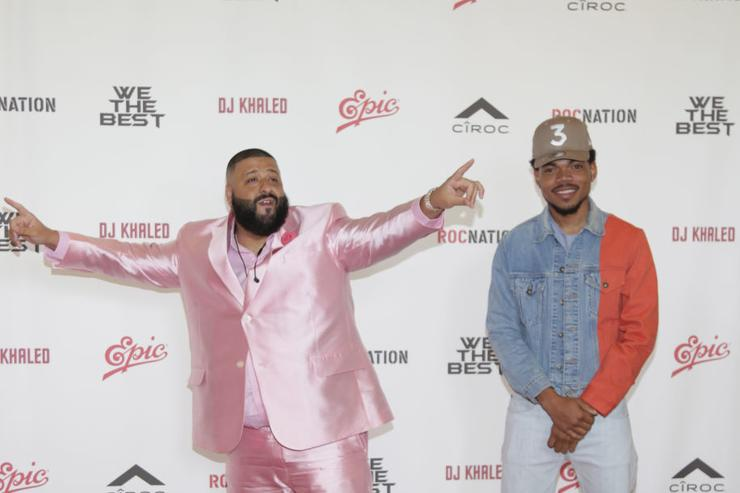 Dj Khaled and Chance the Rapper attend DJ Khaled's Special Announcement Press Conference at Beverly Hills Hotel on February 9, 2017 in Beverly Hills, California.