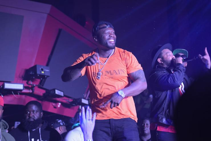 Curtis '50 Cent' Jackson onstage at the Playboy party with TAO at Spire Nightclub on February 4, 2017 in Houston, Texas.