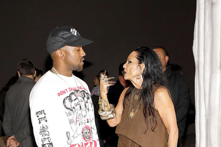 Kanye West (L) and Michele Lamy, Organizer of 'Rick Owens: Furniture' and Rick Owen's partner attend MOCA's Leadership Circle and Members' Opening for 'Rick Owens: Furniture' on December 16, 2016 in Los Angeles, California.
