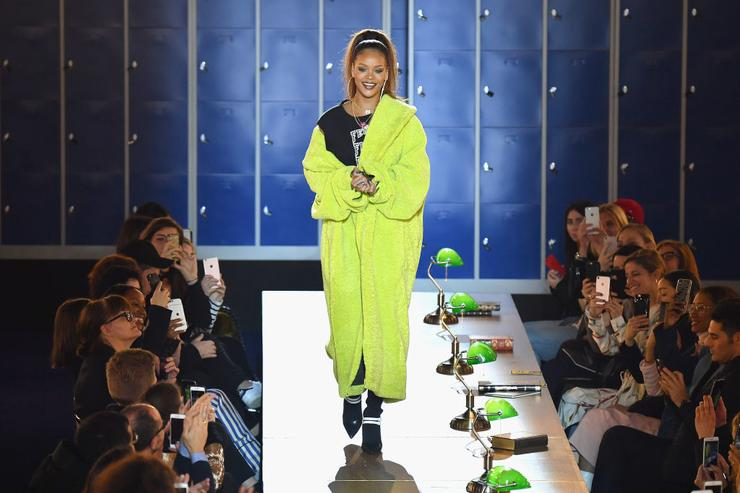 Rihanna is seen on the runway during FENTY PUMA by Rihanna Fall / Winter 2017 Collection at Bibliotheque Nationale de France on March 6, 2017 in Paris, France.