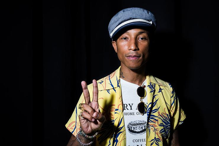 Pharrell Williams poses backstage as iHeartMedia hosts the main stage fireside chat about creativity with radio and television host and producer Ryan Seacrest and Grammy Award winner musician/entrepreneur Pharrell Williams during the Cannes Lions Festival at Grand Audi Theater, Palais on June 23, 2015 in Cannes, France.