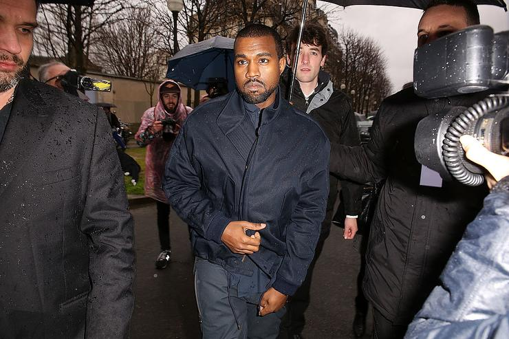 Kanye West attend the Balenciaga show as part of the Paris Fashion Week Womenswear Fall/Winter 2014-2015 on February 27, 2014 in Paris, France.