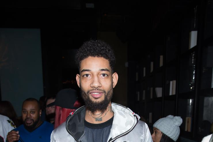 PnB Rock arrives for Wiz Khalifa's listening party