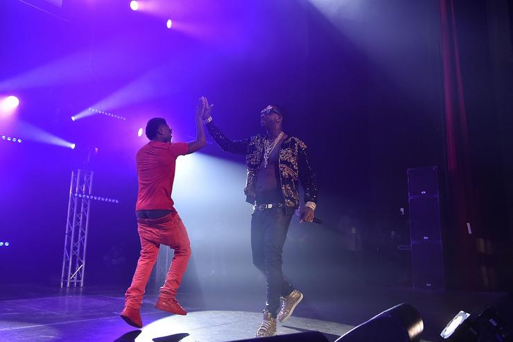 Zaytoven and Gucci Mane perform on stage at Gucci and Friends Homecoming Concert