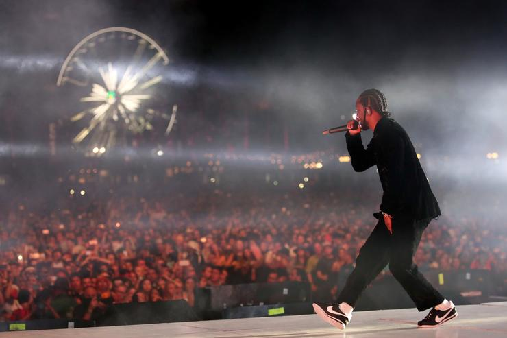 Kendrick Lamar performs on the Coachella Stage during day 3 of the Coachella Valley Music And Arts Festival