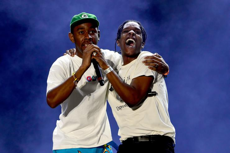 Tyler, The Creator (L) and ASAP Rocky perform onstage during day 1 of the 2016 Coachella Valley Music & Arts Festival Weekend