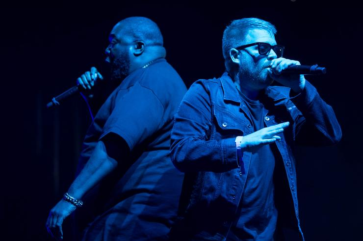 Killer Mike (L) and El-P of Run The Jewels perform onstage on day 3 of FYF Fest 2017 at Exposition Park on July 23, 2017 in Los Angeles, California.