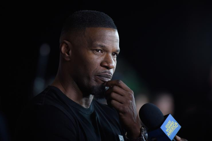 Actor Jamie Foxx is interviewed on T-Mobile's magenta carpet duirng the Showtime WME IME and Mayweather Promotions VIP Pre Fight Party for Mayweather vs. Mc Gregor at T Mobile Arena
