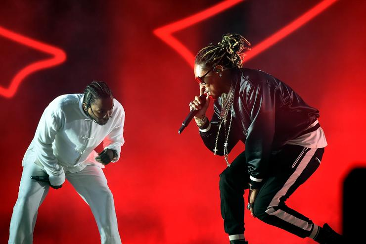 Rappers Kendrick Lamar and Future perform on the Coachella Stage during day 3 of the Coachella Valley Music And Arts Festival (Weekend 1) at the Empire Polo Club on April 16, 2017 in Indio, California.