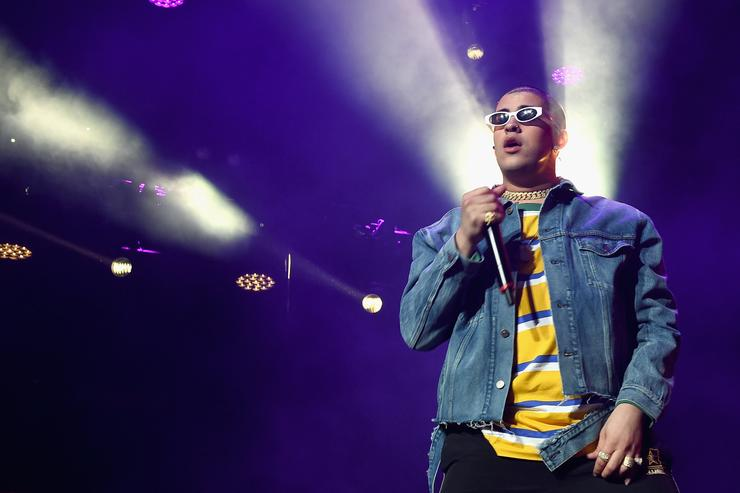 Bad Bunny performs onstage during Calibash Los Angeles 2018 at Staples Center on January 20, 2018 in Los Angeles, California.