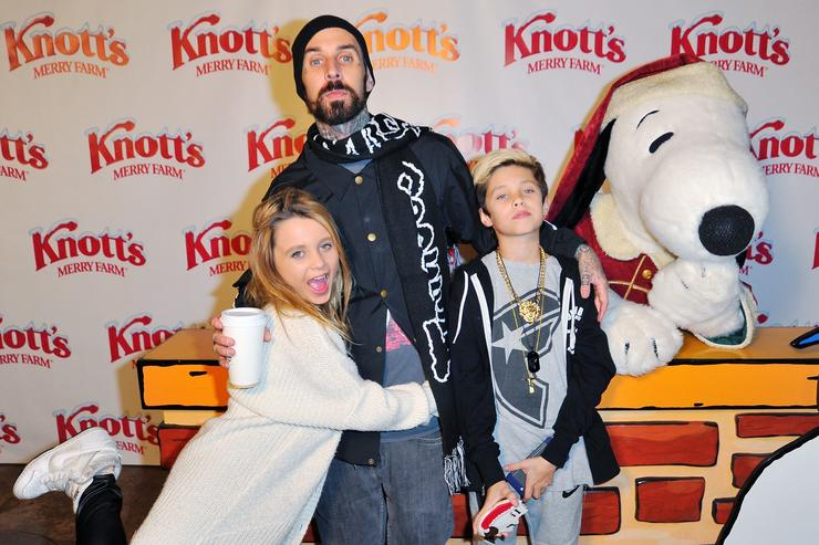 Travis Barker, daughter Alabama and son Landon attend Knott's Merry Farm Countdown to Christmas & Tree Lighting