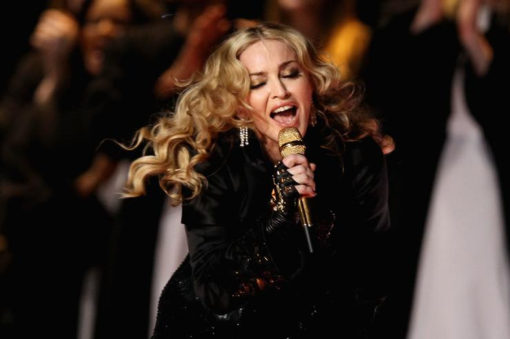 Madonna performs during the Bridgestone Super Bowl XLVI Halftime Show at Lucas Oil Stadium on February 5, 2012 in Indianapolis, Indiana