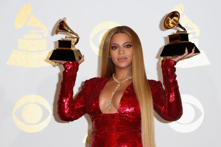 Beyonce winner of Best Urban Contemporary Album for 'Lemonade&#039 and Best Music Video for 'Formation,&#039 poses in the press room during The 59th GRAMMY Awards at STAPLES Center