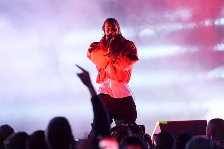 Kendrick Lamar performs onstage at the at the NBA on TNT American Express Road Show Stage at LA Live on February 16, 2018 in Los Angeles, California