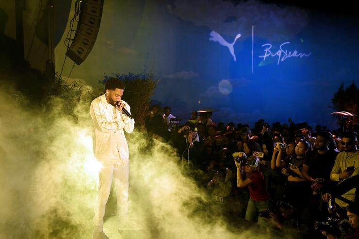 Big Sean performs onstage at PUMA x Big Sean Collection Launch Event at Goya Studios on March 19, 2018 in Los Angeles, California