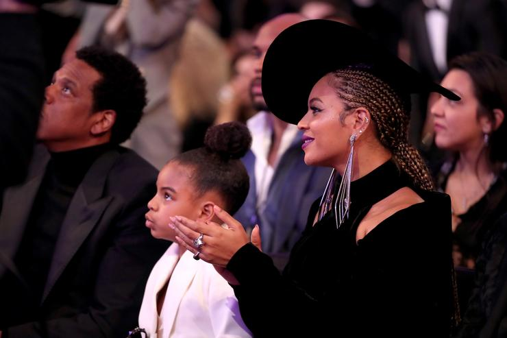 Blue Ivy and Beyonce Knowles attend the 60th Annual GRAMMY Awards at Madison Square Garden on January 28, 2018 in New York City.