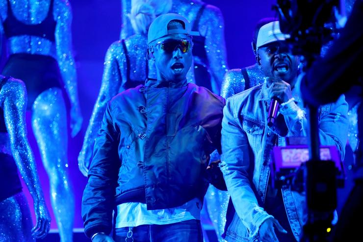 Pharrell Williams (L) and Shay Haley of N.E.R.D perform onstage during the 2018 iHeartRadio Music Awards which broadcasted live on TBS, TNT, and truTV at The Forum on March 11, 2018 in Inglewood, California.