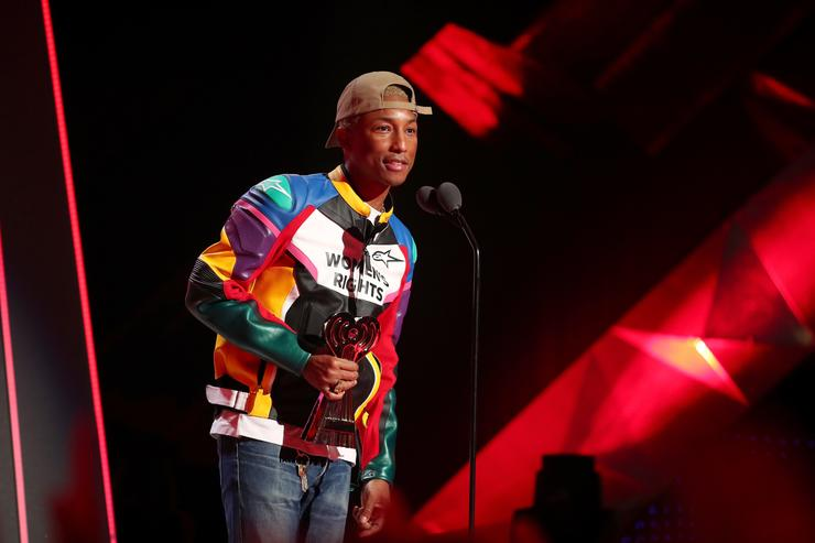 Pharrell Williams speaks onstage during the 2018 iHeartRadio Music Awards which broadcasted live on TBS, TNT, and truTV at The Forum on March 11, 2018 in Inglewood, California.