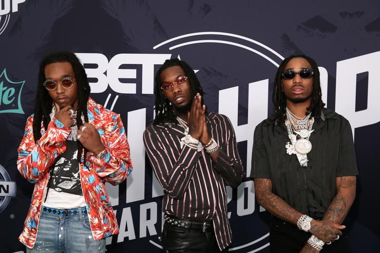 Takeoff, Offset, and Quavo of Migos attend the BET Hip Hop Awards 2017 at The Fillmore Miami Beach at the Jackie Gleason Theater on October 6, 2017 in Miami Beach, Florida