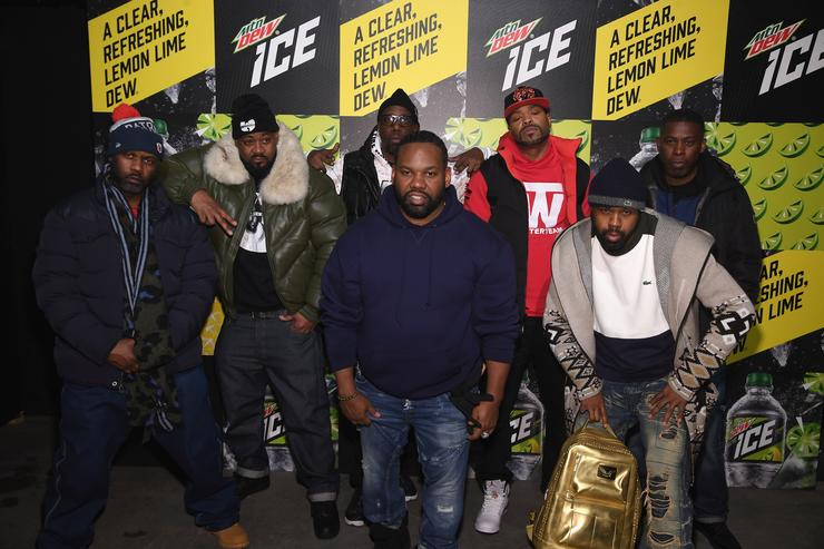 Masta Killa, Ghostface Killah, RZA, Method Man, GZA, (front L-R) Raekwon and Cappadonna of Wu-Tang Clan attend the Mtn Dew ICE launch event on January 18, 2018 in Brooklyn, New York.