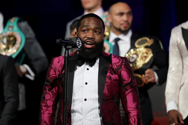 Adrien Broner addresses the media during the 2018 Showtime Championship Boxing Event at Cipriani 42nd Street on January 24, 2018 in New York City